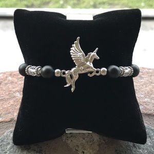 Pegasus unicorn mythical onyx & crystal bracelet